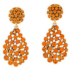 Oscar de la Renta Orange Teardrop Clip-On Earrings